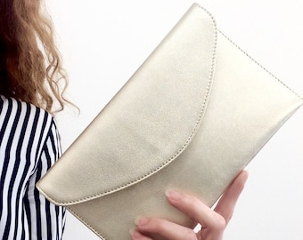 Leather Wristlet Pouch.Envelope leather bag.Leather clutch.Bridesmaid leather bag purse clutch.Metallic gold pouch.Clutch bag.Ready to ship.