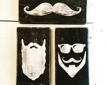 Vintage Trio Mustache and Beard Signs