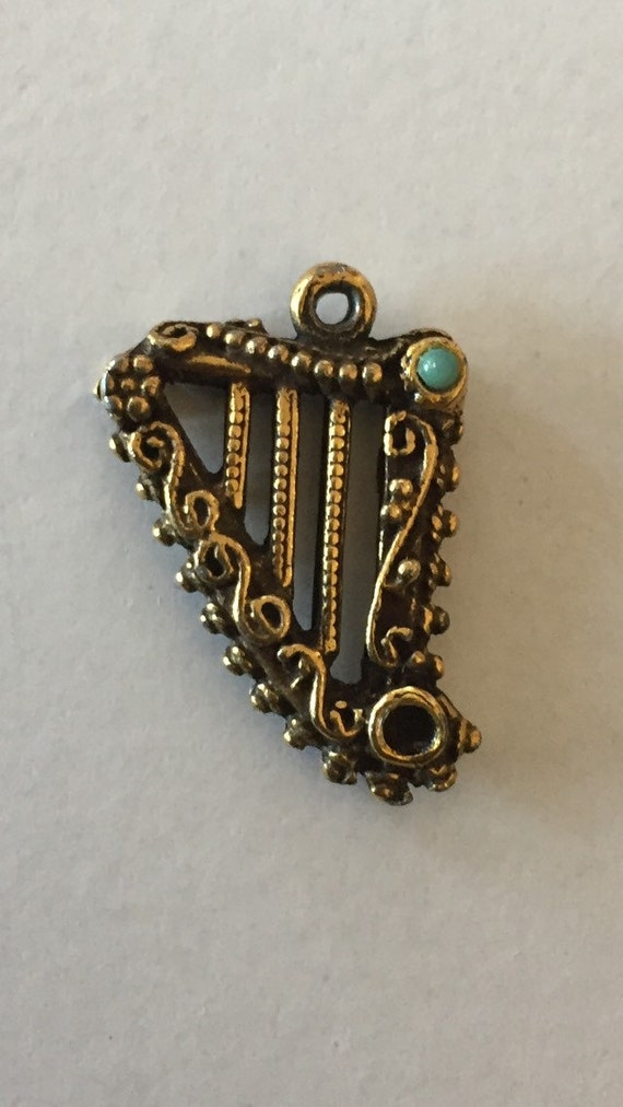 FREE SHIPPING-Vintage-1940's-14K Gold-Lyre Harp-Jewel Accents Scrolls-Charm