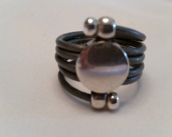 Leather ring / leather wrap ring LW2-01