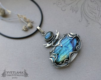 Labradorite silver necklaсe, blue Labradorite, Silver necklaсe, Labradorite,Silver jewellery, wire wrap jewelry, wire wrap necklace