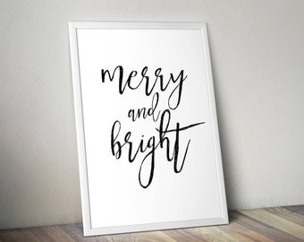 Merry and Bright Digital Print, Printable File, Digital Print file, Christmas, Merry Christmas, Christmas Printable, Christ, Printable