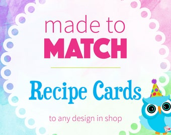 Matching Recipe Cards | Coordinating Recipe Cards | Digital or Printed