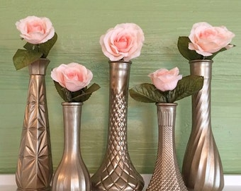 Gold Vases, Champagne Gold, Gold Wedding, Gold Centerpieces, Gold Bud Vase, Gold Decor, Gold Vases, Gold Wedding