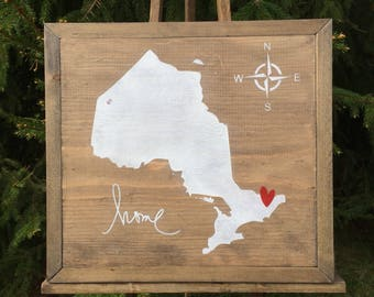 "Ontario ""Home is Where the Heart is"" Map - Custom Order"