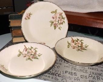 SET of 6 vintage (1930s) Royal Swan Blossomtime soup, salad or cereal bowls. Pink blossoms, 22-karat brushed gold edge, cream ground.