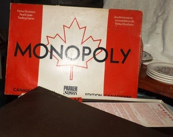 Vintage (c.1980s) Canadian Edition of Monopoly board game by Parker Brothers. Well-crafted game, pewter player pieces, heavy board! Complete