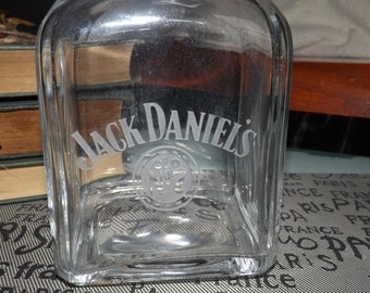 Vintage (c.1988) Jack Daniels Etched-glass decanter with stopper-sealed lid.  Made in Italy.