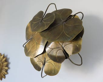 """very large """"water lily"""" solid brass wall lights Golden Hollywood Regency mid century 1970 70's vintage gold leaf JANSEN brass sconce"""