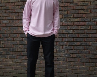 Baggy Oversized Light Pink Long Sleeved T-Shirt With Woven Label Details Retro Basic Staple Essential Pastel 90s Vintage Streetwear RTS
