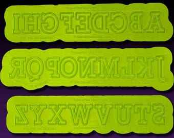Typewriter Uppercase Letters Flexabet™ Mold for Fondant or Clay