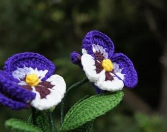Crochet flower in Pot,Pansy flower , Floral arrangement, Gift for her, Purple white flower