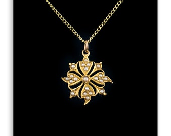 Seed Pearl Flower Pendant 9Ct Gold - Antique Pearl Necklace, 9Ct Gold Chain, Vintage Pendants, Antique Pearl Necklace,