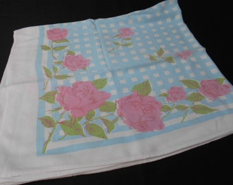 Vintage Printed Tablecloth or Supper Cloth In Blue and Pink 1960's  #00120