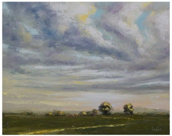 Handmade Original Painting - Oil on Canvas, Landscape painting, Wall art painting, Cloudscape