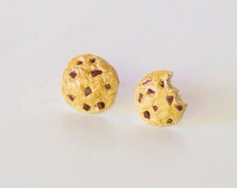 Chocolate Chip Cookie Stud Earrings, miniature food jewelry, cookie earrings, food jewelry, cookie studs, foodie jewelry, cute unique gift