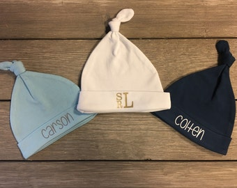 Personalized Newborn Hats - Newborn Monogrammed Hat - Newborn Hat - Baby Boy Coming Home Outfit - Baby Shower Gift