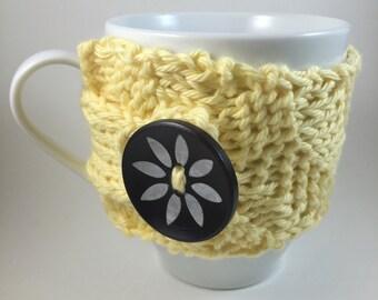 Coffee Mug Sweater - Yellow with Flower Button Coffee Mug Holder - Cup Cozy - Coffee Cup Warmer - Coffee Mug Cozy - Stocking Stuffer