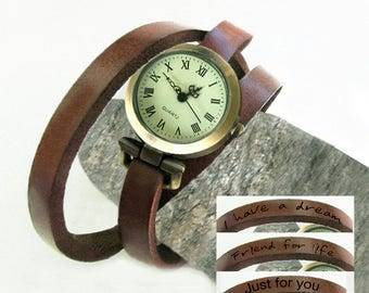 Women watches personalized, leather bracelet watch, Custom creation,Leather engraving,handmade women watches,bracelet  handmade womens