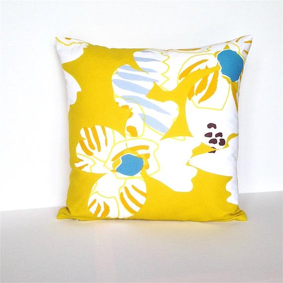 Marimekko Citrine Yellow Cushion Cover. Scandinavian Pillow.