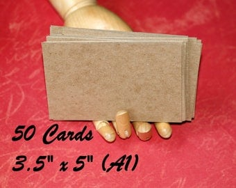 """Kraft Cards (50) . A1 size 3.5"""" x 5"""" Lightweight Chipboard Blank Cards Invitations Thank You Notes Save the Dates DIY Rustic Wedding Cards"""