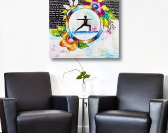 Print yoga art warrior with flowers on watercolor paper by Marika Lemay mixed media artist. Zen and modern decor
