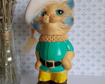 Soviet vintage Puss in Boots, Old Russian toy, Soviet Toy, Rubber Toy Cat, vintage cat , USSR toys