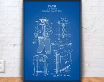 BACKPACK patent print, backpack poster, backpack blueprint, backpack illustration, hiking art, boy scout backpack, hiking art, #1300