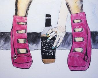 Whiskey woman, original 9x12 watercolor, jack daniels, red heels