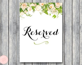 Peonies Reserved sign, Wedding Reserved seating sign, Reserved table sign, Wedding sign, Printable sign, Wedding decoration TH01 DD TH28