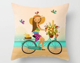 Girl Beach Pillow Pink Throw Pillow Girls Room Pillow Girls Decor Beach  Decor Colorful Teen Bedroom