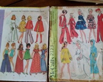 Two Vintage McCall's 11.5 Inch Doll Cloths Barbie Francie Midge Dolls Fashion Doll Patterns