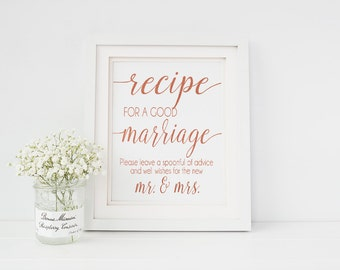 Instant Download Printable Rose Gold Recipe for a Happy Marriage Sign - Wedding Reception Prints - Well Wishes Sign (ID164)
