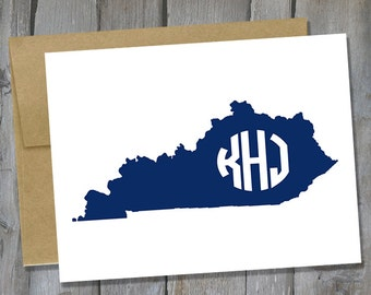 Customizable Kentucky Monogram Notecard Set of 12 - State Note Card Set - Customized Notecards