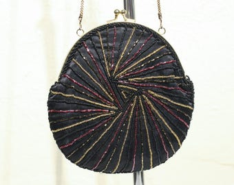 Vintage Magid Black Beaded Purse with Gold Clasp Evening Bag