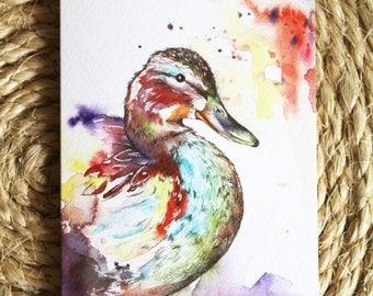 Watercolour Colourful Duck Print Greetings Card