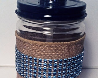 Decorated Jar Soap Dispenser, Upcycled Jar, Soap Dispenser, Blue Soap Dispenser, Blue Metallic Ribbon, Functional Soap Pump, Burlap Wrapped