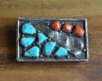 Vintage Sterling Silver Turquoise and Coral Belt Buckle by Wayne Cheama
