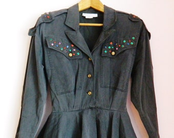 Vintage 80s Bedazzled Military Peplum Midi Dress - Size XS/S