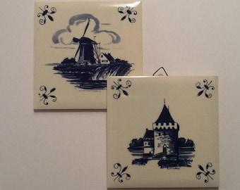 Tiles Blue Delft Vintage Ceramic Dutch Holland G Laurel Mark Set of 2 Windmill and Castle 4 x 4