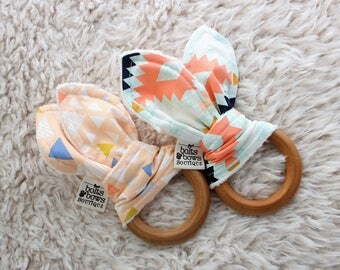 Organic baby teething toy / machine washable / baby girl teether / coral baby teether / baby shower gift