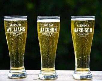 Personalized Craft Beer, Beer Stein, Groomsmen Beer Mug, 6 Etched Pilsner, Engraved Glass, Wedding Favor, Groomsmen Gifts, Custom Pint Glass
