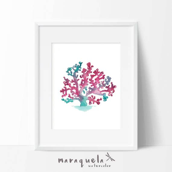 ALGA illustration in Watercolor,home decor. Decoration ideas bathroom, homedecor, marine life, sea, beach , gift bath, pink teal colors wall