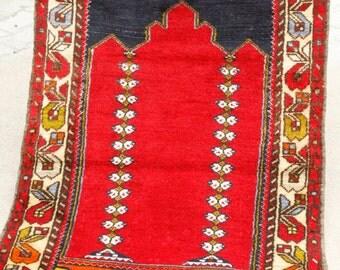 Genuine 2'8''x 4'5''Cr1900-1939s AntiqueTurkish Wool Pile Children Prayer Rug