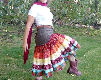 Desert Sunrise upcycled/recycled brown jean skirt with ruffles