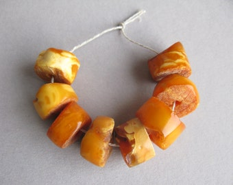 Antique amber beads, Natural amber, Yellow Amber, Egg Yolk Amber, Butterscotch Color, 8 beads