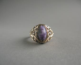 Vintage Natural Charoite  Sterling Silver gilded Ring, Size 7 1/4 , (17.5), Vintage  Russian 1958s.