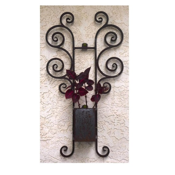 Wrought Iron Wall Decor Flowers : Wrought iron planter rustic flower pot vintage wall decor