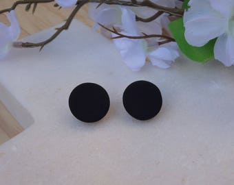 Black polymer clay stud earrings, black stud earrings, polymer clay jewellery/jewelry, unisex studs, round studs, minimal earring, FREE ship