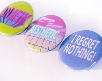Vaporwave Pinback Buttons, Grunge, Kawaii